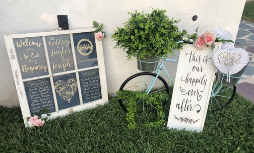 Joe and Taylor wedding reception welcome sign 8/17/19