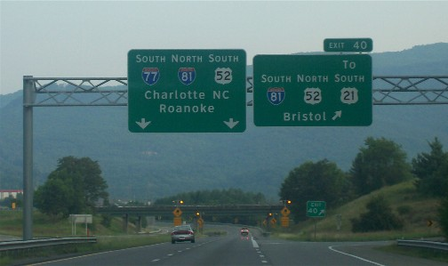 Highway sign, Wytheville, VA