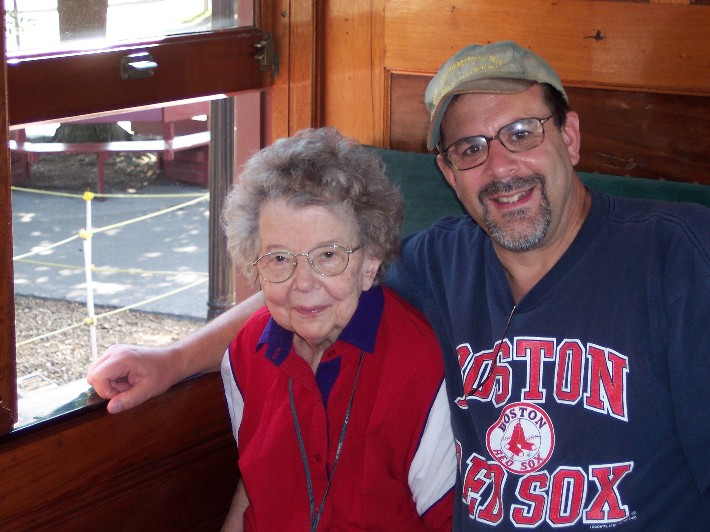 With Mom on Strasburg train (Labor Day 2005)
