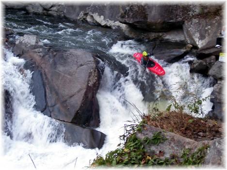 Mountain stream kayaker in Smoky Mountain National Park 10/28/10