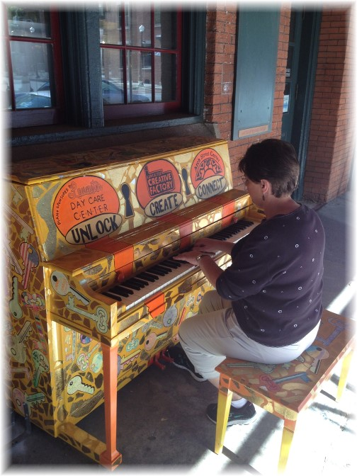 Brooksyne playing street piano in Lancaster city 6/6/14