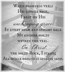 """Line from hymn """"The Solid Rock"""""""