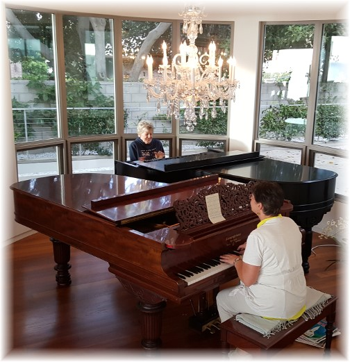 Brooksyne and Elnora playing Steinway grand piano 10/17/16
