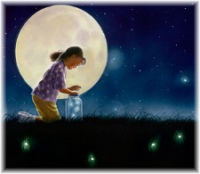 Child catching fireflies