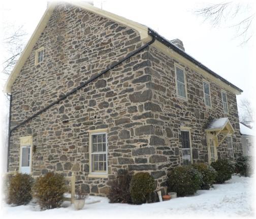 Restored stone Pennsylvania farmhouse in snow 2/9/14