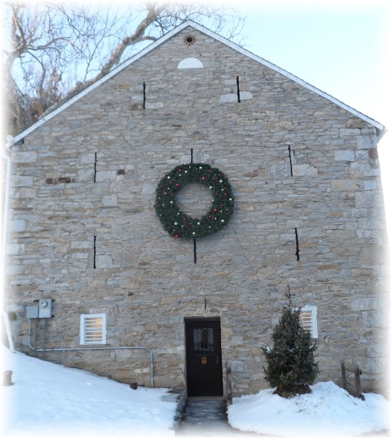 Berks County stone barn in snow 12/16/13