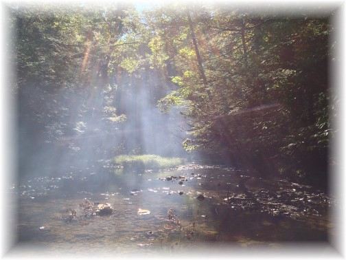 Campfire smoke over Conodoquinet Creek 9/7/14