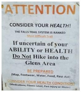Warning sign, Ricketts Glen State Park 6/28/17