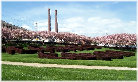 Landscaping at the Hershey Chocolate factory in Hershey PA