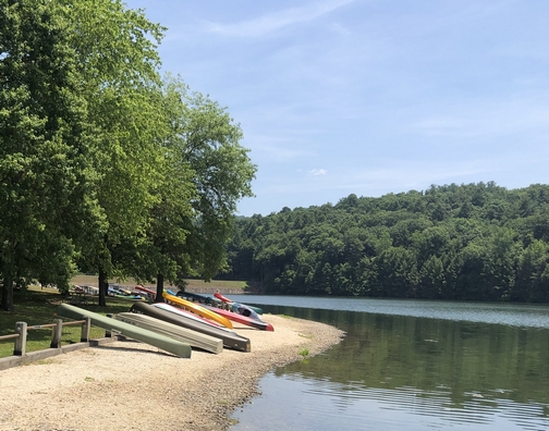 Boats at Holman Lake in Little Buffalo State Park, Perry County, PA