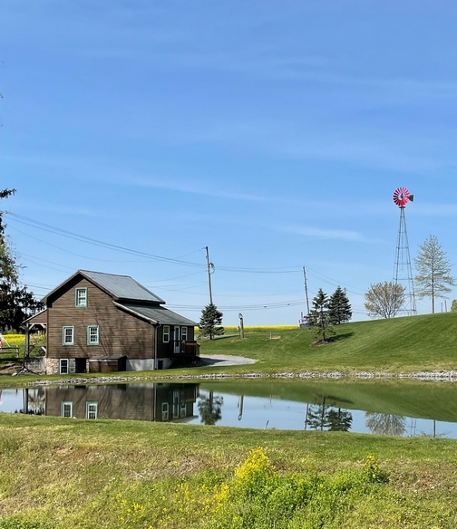 Blue Mountain windmill and pond