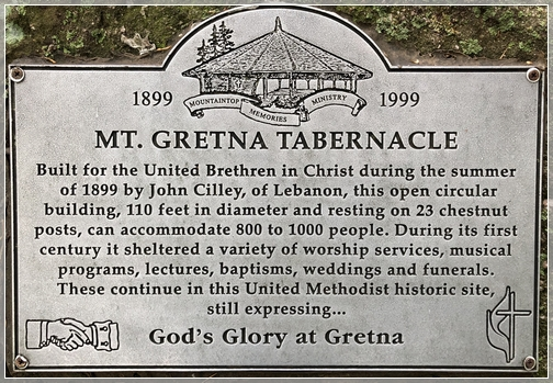 Mount Gretna Tabernacle Plaque