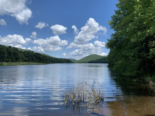 Mountain lake on Stony Valley railroad trail