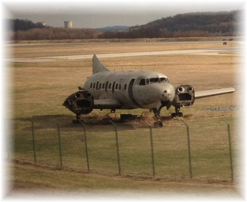 Old plane at end of Harrisburg airport runway