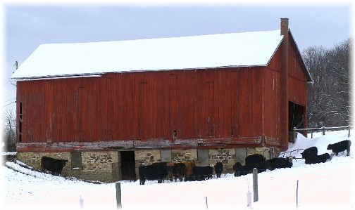 Pennsylvania red bank barn in snow (Photo by Greg Schneider)