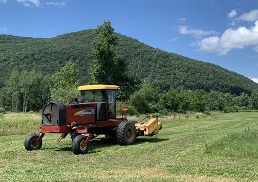 Tractor along the Old Railroad grade trail, near Tioga, PA