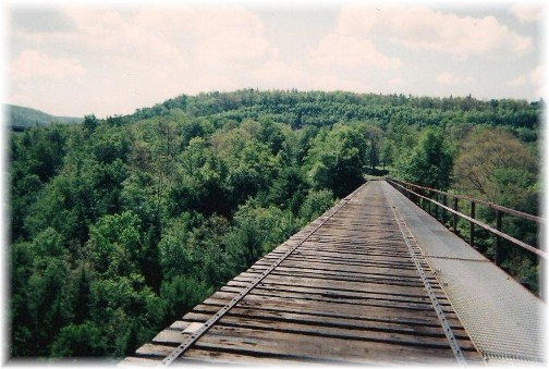 View from on Snowshoe rail to trail bridge