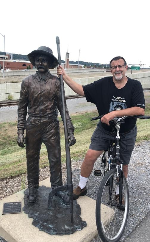 Wood hick statue along the Susquehanna River, Williamsport, PA