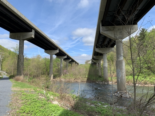 I-81 over Swatara Gap on along Swatara rail trail, Lebanon County, 4/30/19 (Click to enlarge)
