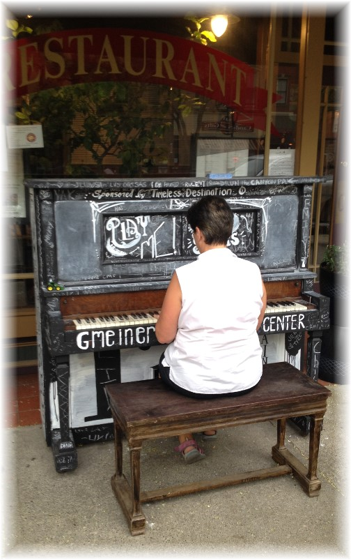 Playing street piano in Wellsboro PA 8/15/15
