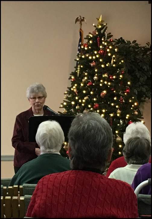 Dorothy Schmidt leading Calvary Homes women's group 12/3/18
