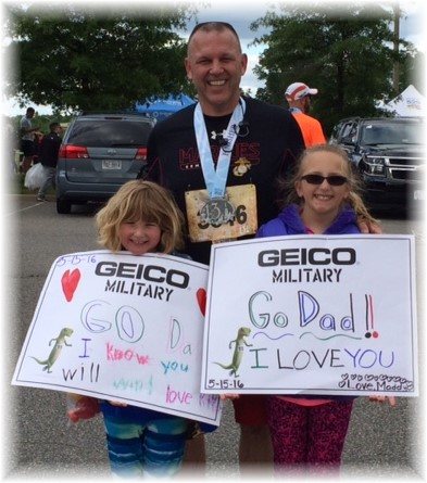 Jeff with daughters at Marine Corps marathon 5/15/16