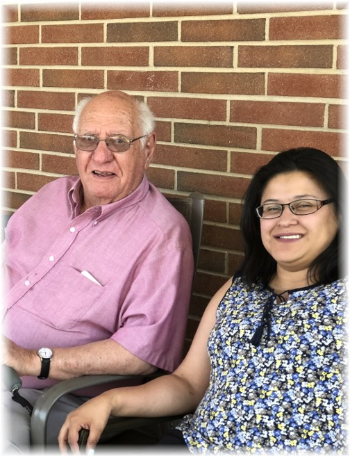 Ester with Jim Schmidt, Father's Day, Calvary Homes 6/17/18