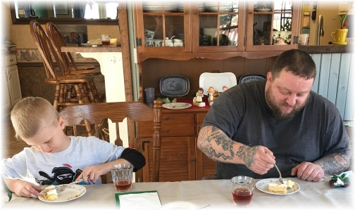 Lou and son Cole eating pineapple pie 2/18/17