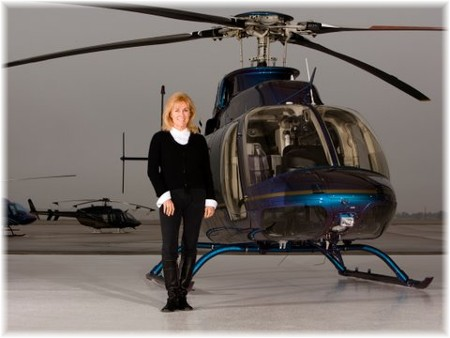 Marilyn in her Bell 407 helicopter