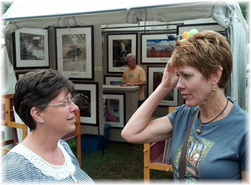 Brooksyne visiting with Pam at the Mount Gretna Outdoor Art Show 8/18/13