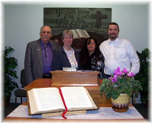 Shawn Coitirier along with wife Gloria and Chaplain Bunny and Peg at Discover Joy Church 3/27/11