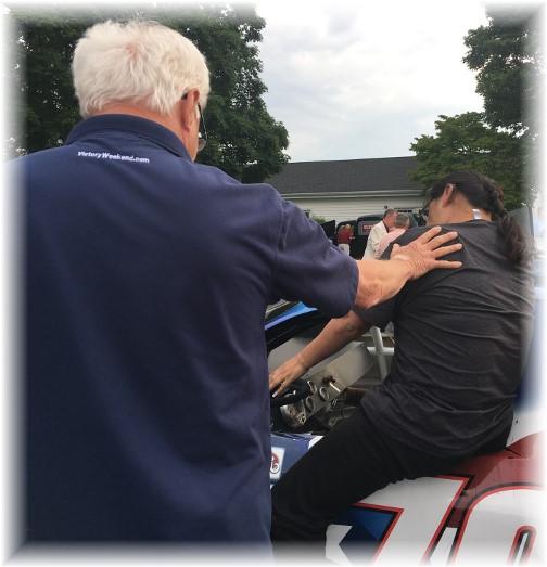 Steve Wingfield helping Ester in race car 6/4/17