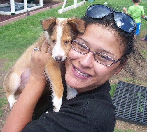 Ester with Sheltie pup