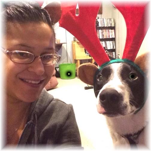 Mollie with reindeer ears!
