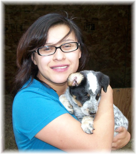 Ester with Australian cattle dog puppy