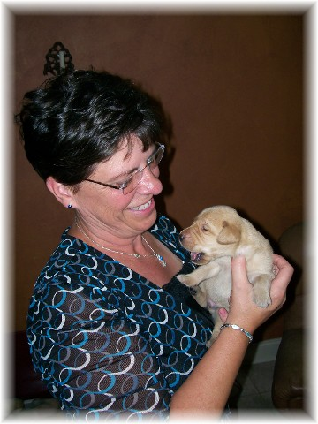 Brooksyne with Yellow lab pup (9/1/11)