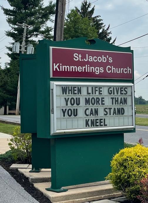 Church sign in Lebanon County