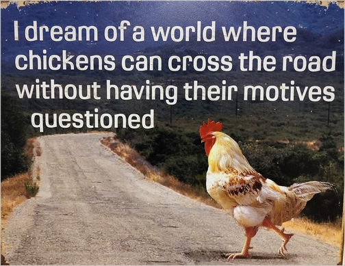 Chicken crossing road