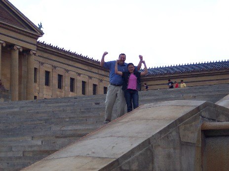 """Stephen and Ester in """"Rocky"""" pose"""