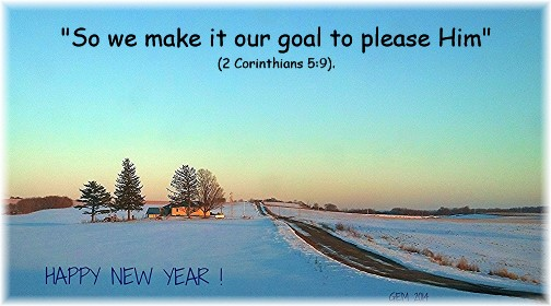 2 Corinthians 5:9 with Wisconsin winter scene (Photo by Georgia)