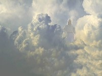 Image of Christ appearing in clouds