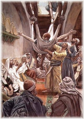 Jesus with the paralytic man being lowered through roof