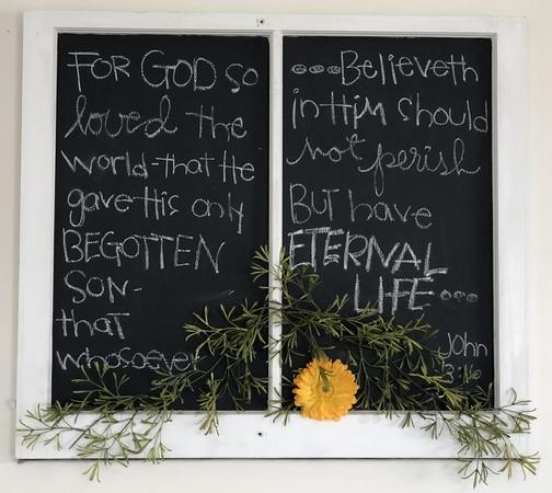 John 3:16 on blackboard 2/22/19