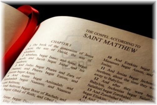 Bible opened to Matthew 1
