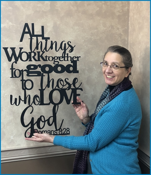 Romans 8:28 laser cut plaque (from Audrey's)