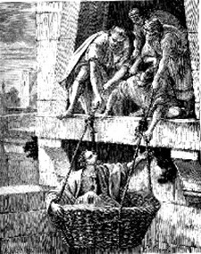 Saul being lowered in basket