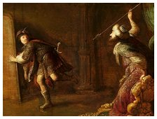 Saul throws spear at David