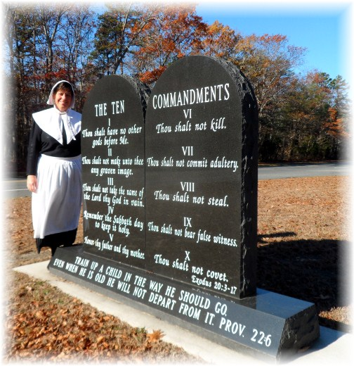 Brooksyne next to Ten Commandment Monument in new Jersey