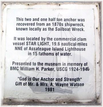 Plaque beside anchor in Ocean City MD