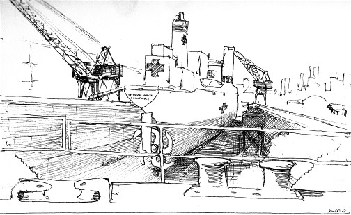 Naval hospital ship Comfort in drydock